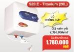 Bình Nước Nóng Picenza 20 Lít S20E có chống giật Giá 1.610