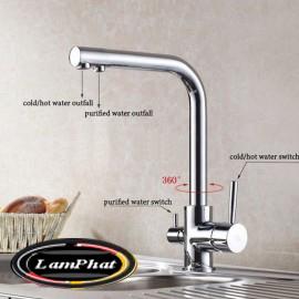 Vòi rửa bát 3 đường nước chất liệu đồng Mã VB 33 Gia 1.600